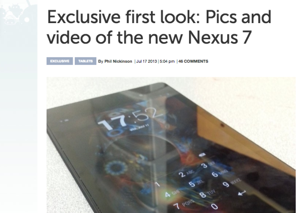 The rumored Google Nexus 7 successor captured in photo.