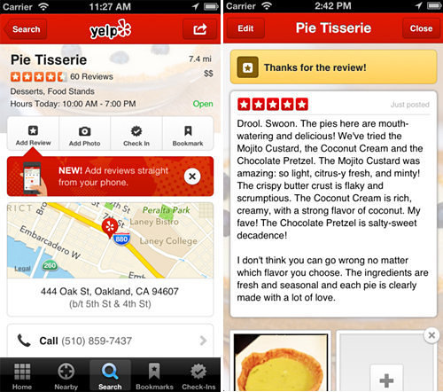 Yelp mobile app, iPhone version