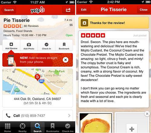 Yelp mobile app, iPhone version