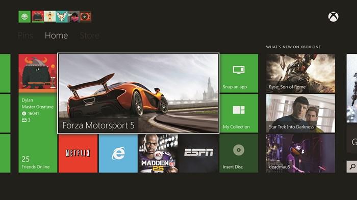 Xbox One home screen