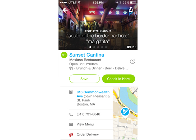 Foursquare update lets you call delivery